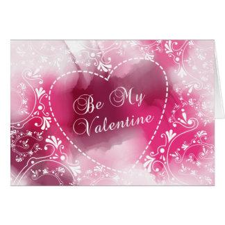 Aquarelle rose Valentine Carte De Vœux
