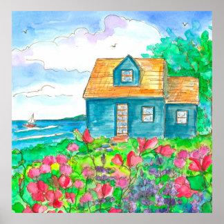 Aquarelle rouge de cottage de bord de la mer de poster