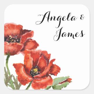 Aquarelle rouge et fleur verte de pavot épousant 2 sticker carré