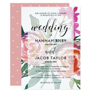Aquarelle sensible florale avec le mariage de carton d'invitation  12,7 cm x 17,78 cm
