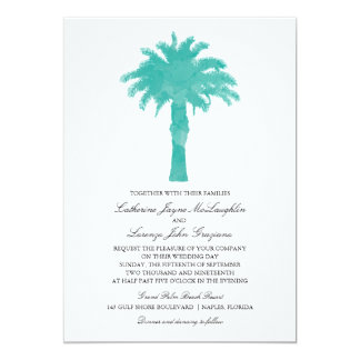 Aquarelle sereine | de palmier épousant carton d'invitation  12,7 cm x 17,78 cm