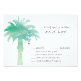 Aquarelle sereine de palmier épousant RSVP avec le Carton D'invitation 8,89 Cm X 12,70 Cm