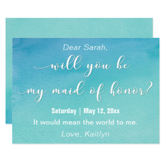 """Aquarelle """"serez-vous ma domestique d'honneur ? """" carton d'invitation  11,43 cm x 15,87 cm"""