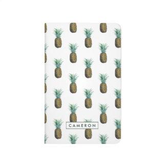Aquarelle tropicale d'ananas carnet de poche