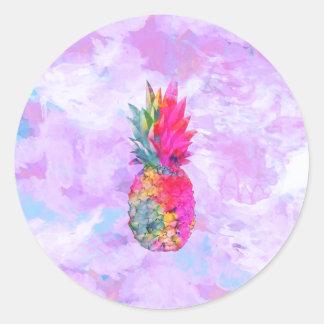 Aquarelle tropicale d'ananas hawaïen au néon sticker rond