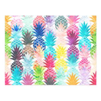 Aquarelle tropicale de motif hawaïen d'ananas cartes postales