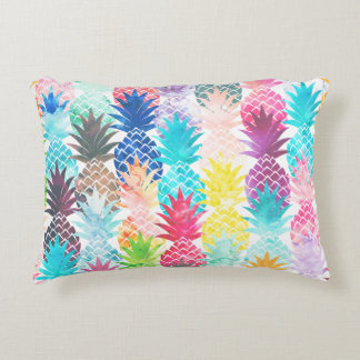 Aquarelle tropicale de motif hawaïen d'ananas coussins décoratifs