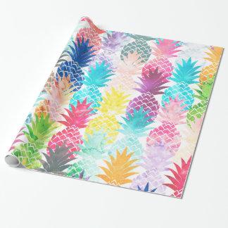Aquarelle tropicale de motif hawaïen d'ananas papier cadeau