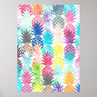 Aquarelle tropicale de motif hawaïen d'ananas posters