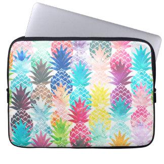 Aquarelle tropicale de motif hawaïen d'ananas trousse ordinateur