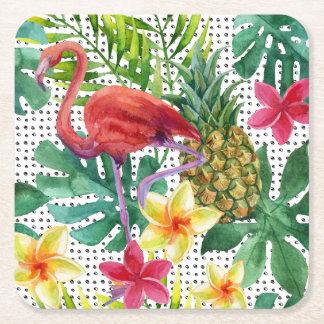 Aquarelle tropicale dessous-de-verre carré en papier