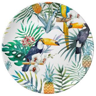 Aquarelle tropicale d'oiseau de perroquet d'ananas assiettes en porcelaine