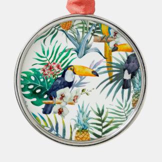 Aquarelle tropicale d'oiseau de perroquet d'ananas ornement rond argenté