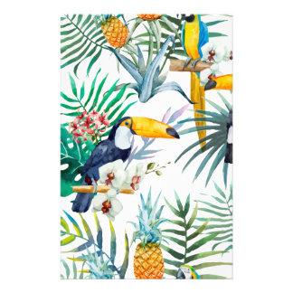 Aquarelle tropicale d'oiseau de perroquet d'ananas papeterie