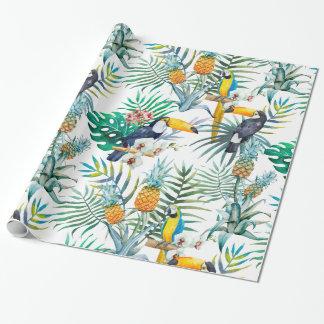 Aquarelle tropicale d'oiseau de perroquet d'ananas papier cadeau noël
