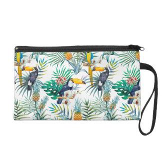 Aquarelle tropicale d'oiseau de perroquet d'ananas sac à main avec dragonne