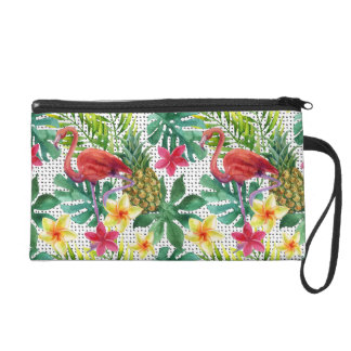 Aquarelle tropicale sac à main avec dragonne