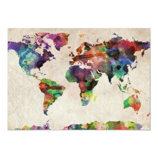 Aquarelle urbaine de carte du monde faire-part personnalisables