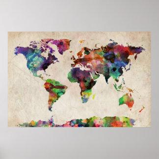 Aquarelle urbaine de carte du monde posters