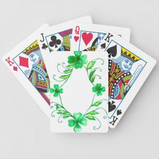 Aquarelle verte de shamrock jeux de cartes