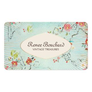 Aquarelle vintage bleue minable florale carte de visite standard