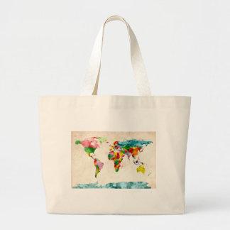 Aquarelles de carte du monde grand sac