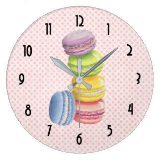 Aquarelles françaises de pastel de dessert de grande horloge ronde