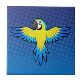 Ara/perroquet de bande dessinée petit carreau carré