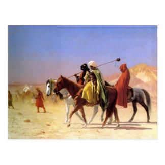 Arabes traversant le désert par la carte postale