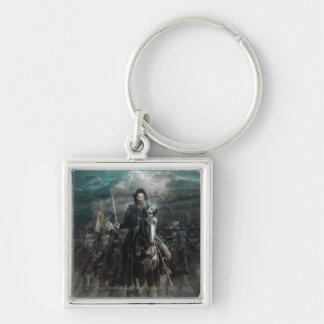 Aragorn menant sur le cheval porte-clé carré argenté