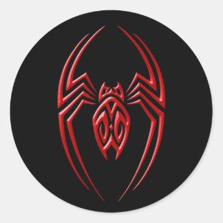 Araignée de fer - rouge et noir sticker rond