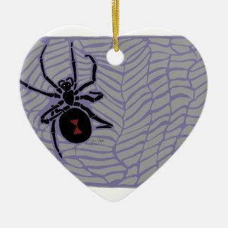 Araignée de veuve noire ornement cœur en céramique