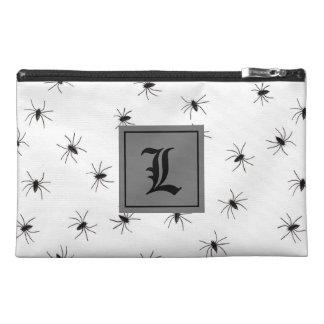 Araignée noire et blanche avec le monogramme trousses à accessoires de voyage