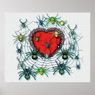 Araignées sur ma copie de toile de coeur