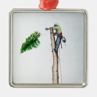 Arboriste de chirurgien d'arbre au présent de ornement carré argenté