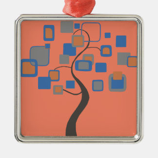 Arbre abstrait des chiffres colorés ornement carré argenté