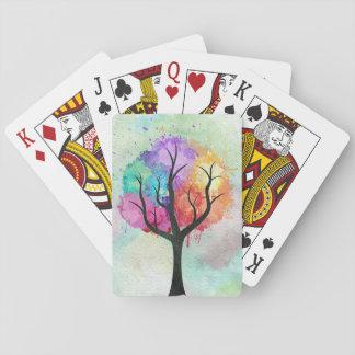 Arbre abstrait impressionnant de peinture à jeu de cartes