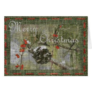 Arbre avec Pinecone et carte de Noël de baies