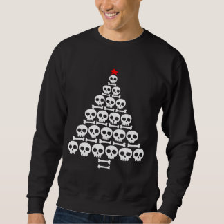 Arbre blanc de crâne et de Noël d'os Sweatshirt