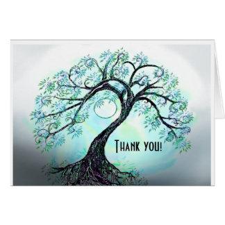 Arbre bleu de carte de remerciements de la vie