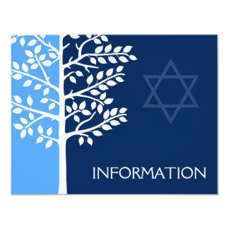 Arbre bleu de marine d'information de Mitzvah de Carton D'invitation 10,79 Cm X 13,97 Cm