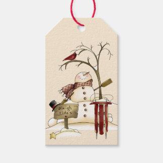 Arbre cardinal de neige de Sleigh de bonhomme de Étiquettes-cadeau