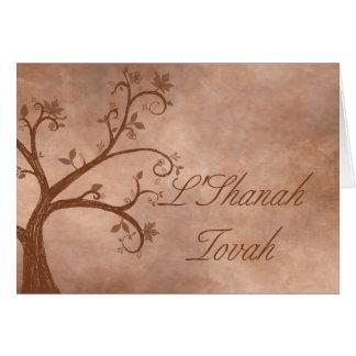 Arbre d'automne sur l'arrière - plan affligé carte de vœux