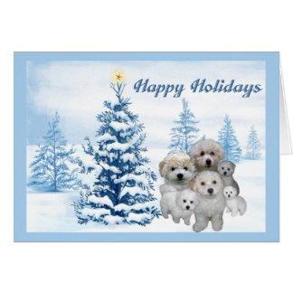 Arbre de bleu de carte de Noël de Bichon Frise