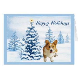 Arbre de bleu de carte de Noël de corgi de Gallois