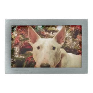 arbre de cadeau de Noël de bull-terrier Boucles De Ceinture Rectangulaires