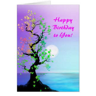 Arbre de carte de lune d'anniversaire de la vie