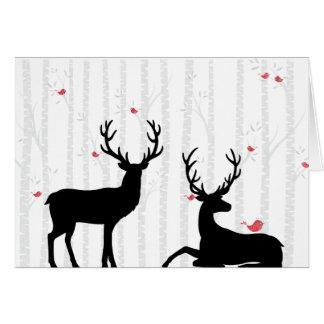 Arbre de cerfs communs et de bouleau toute la cartes de vœux