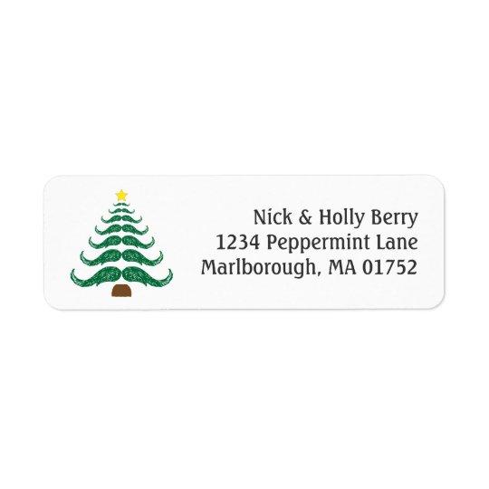 Arbre de Christmastache Étiquette D'adresse Retour