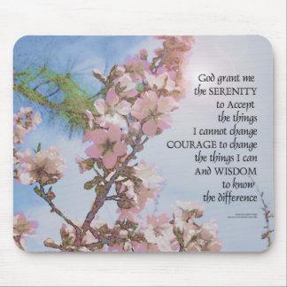 Arbre de ciel de fleurs de prière de sérénité tapis de souris